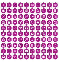 100 magnifier icons hexagon violet vector
