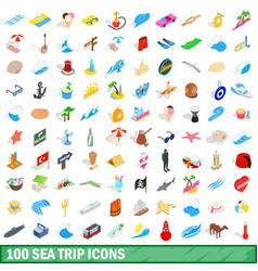 100 sea trip icons set isometric 3d style vector