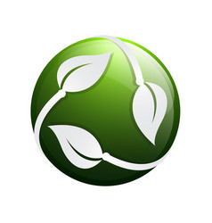 3d circle green leaf ecology nature element icon vector