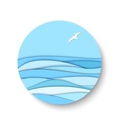 3d paper effect seascape vector