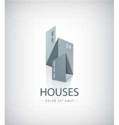 3d ribbon abstract houses city vector image