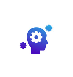 Ability icon head and gears vector