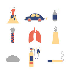 Air pollution flat icon set vector