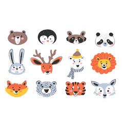 animal portraits and muzzles cartoon characters vector image