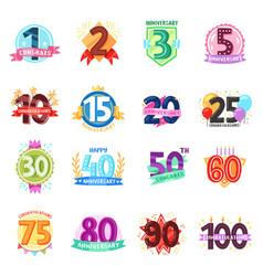 anniversary badges birthday cartoon numbers vector image
