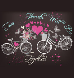 beautiful valentines day card with bicycles vector image