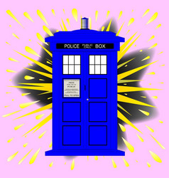 British police box with abstract explosion vector