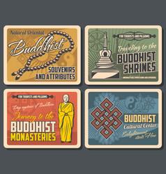 Buddhism religion retro posters buddhist symbols vector