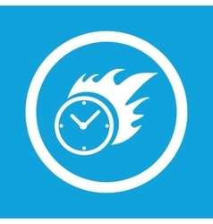 Burning clock sign icon vector image