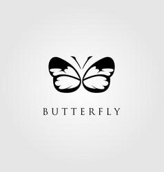 butterfly silhouette logo emblem design vector image