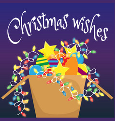 cardboard box with christmas decorations vector image