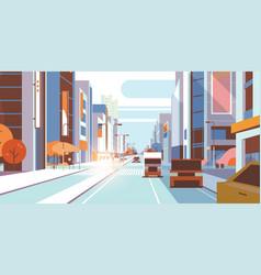 Cars driving road traffic urban street skyscraper vector