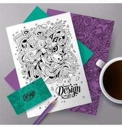 Cartoon cute hand drawn doodles Designer vector