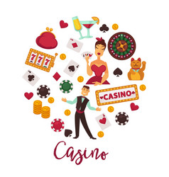 Casino round promo emblem with gambling equipment vector