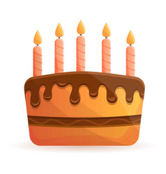 chocolate birthday cake icon cartoon style vector image