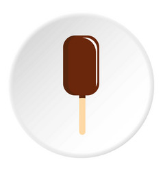 Chocolate ice cream on wooden stick icon circle vector