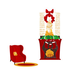 Christmas fireplace and armchair cozy scene vector