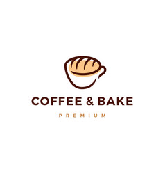 coffee and bake bread logo icon vector image
