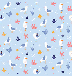 Colorful seamless pattern with seagulls in cute vector