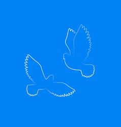 couple dove silhouette white free birds in sky vector image