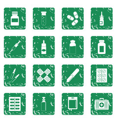 Different drugs icons set grunge vector