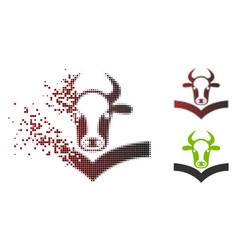 Dissolving pixel halftone cow handbook icon vector