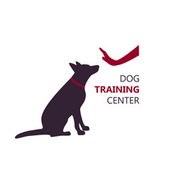 Dog training center logo template with sitting dog vector