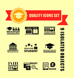 Education concept icon set with red tape vector