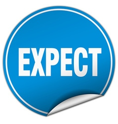 Expect round blue sticker isolated on white vector