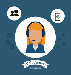 Female manager call center tools app vector