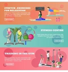 Fitness center horizontal banners set Sport vector