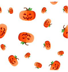 halloween pumpkin seamless pattern evil vector image