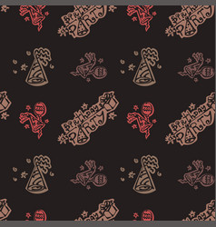 happy birthday pattern background with brown color vector image