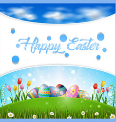 Happy easter egg scenery vector