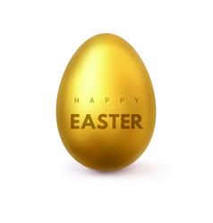 happy easter golden realistic easter egg vector image