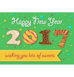 Happy New Year 2017 Colorful donuts font vector image