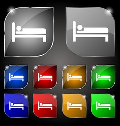 Hotel icon sign Set of ten colorful buttons with vector image