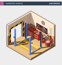 isometric auto or car service center vector image