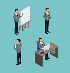 isometric business avatars vector image