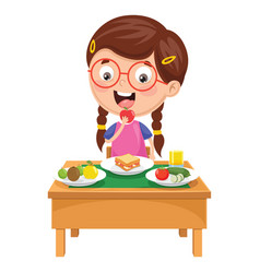 Kid having breakfast vector