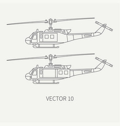 line flat icon set military turboprop vector image