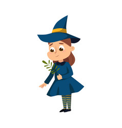 little witch with magical herb cute girl wearing vector image