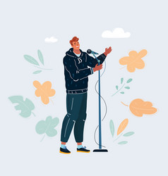 man singing into a vector image