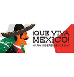 mexico independence day banner of mariachi man vector image