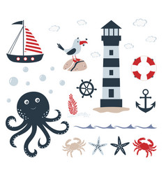 nautical set with underwater inhabitants on white vector image