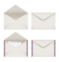 Opened and closed envelopes set vector image
