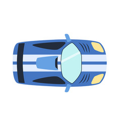 Overhead top view on colorful car toy automobile vector
