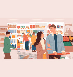People with baskets in supermarket choose products vector