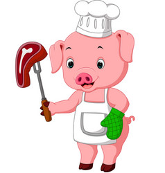 Pig chef with roasted steak vector