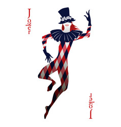 Playing card joker with top hat decorated with vector